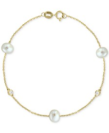 EFFY® Cultured Freshwater Pearl (5-1/2mm) & Diamond Accent Chain Bracelet in 14k Gold