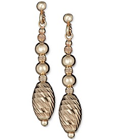 Textured Bead Drop Earrings in 14k Gold-Plated Sterling Silver