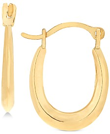 Children's Polished Oval Hoop Earrings in 14k Gold