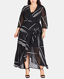 City Chic Trendy Plus Size Power Lines Maxi Dress