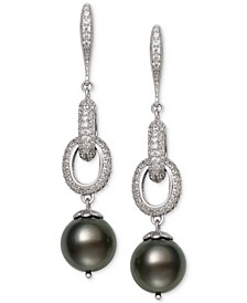 Cultured Black Tahitian Pearl (10mm) & Cubic Zirconia Linear Drop Earrings in Sterling Silver
