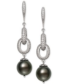 Belle de Mer Cultured Black Tahitian Pearl (10mm) & Cubic Zirconia Linear Drop Earrings in Sterling Silver