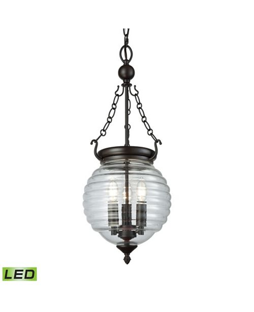 ELK Lighting Crosswell 3 Light Chandelier in Oil Rubbed Bronze with Clear Beehive Glass