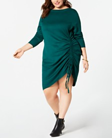 11a44a58ce3 NY Collection Plus Size 3 4-Sleeve Ruched Sweater Dress