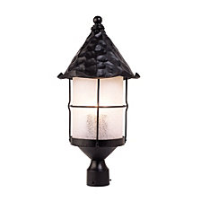 Rustica 3-Light Outdoor Post Light in Matte Black With Scavo Glass