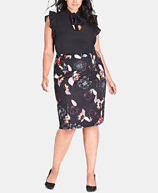City Chic Trendy Plus Size Sketch Floral Skirt