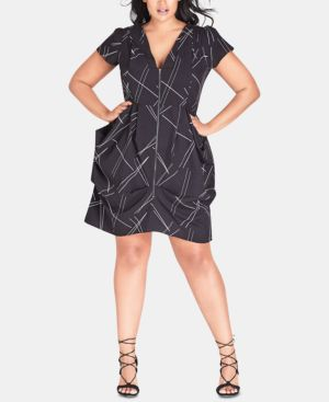 CITY CHIC Plus Size Random-Lines Tunic Dress in Random Lines