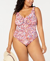 b06162cf5eab3 Lauren Ralph Lauren Plus Size Ruffled Underwire One-Piece Tummy-Control  Swimsuit, Created