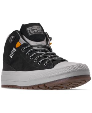Men'S Chuck Taylor All Star Street Boot Casual Sneakers From Finish Line in Black/Black/Dolphin