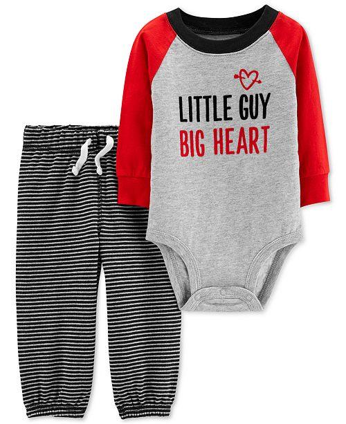 769465e4ab27 Carter's Baby Boys 2-Pc. Little Guy Cotton Body Suit & Striped Pants Set