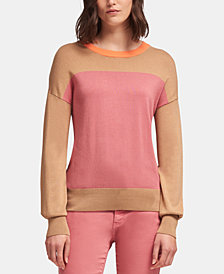 DKNY Colorblocked Crewneck Sweater, Created for Macy's