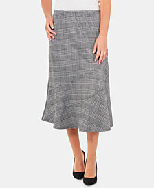 NY Collection Plaid Diagonal-Seam A-Line Skirt