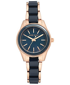 Anne Klein Women's Navy and Rose Gold-Tone Bracelet Watch 30mm