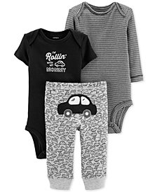 Carter's Baby Boys 3-Pc. Cotton Cars Bodysuits & Pants Set