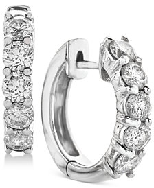 Diamond Hoop Earrings (2 ct. t.w.) in 14k White Gold