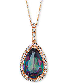 "Mystic Topaz (4 ct. t.w.) & White Topaz (1 ct. t.w.) 18"" Pendant Necklace in 14k Gold"