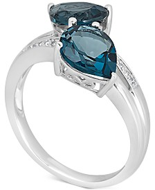 London Blue Topaz (4 ct. t.w.) & Diamond Accent Ring in 14k White Gold