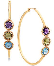 Multi-Gemstone Hoop Earrings (5 ct. t.w.) in 10k Gold