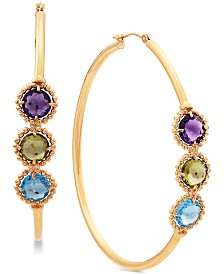 Multi-Gemstone Hoop Earrings (5 ct. t.w.) in 10k Gold