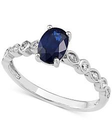 Sapphire (1 ct. t.w.) & Diamond Ring (1/10 ct. t.w.) in 14k White Gold
