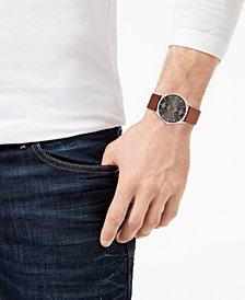 Skagen Men's Holst Brown Leather Strap Watch 40mm SKW6086