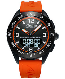 Alpina Men's Swiss Analog-Digital Apliner X Orange Rubber Strap Hybrid Smart Watch 45mm
