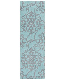 "CLOSEOUT!  Cosmopolitan COS-9202 Teal 2'6"" x 8' Runner Area Rug"