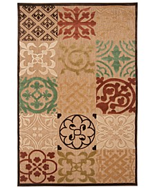 "CLOSEOUT! CLOSEOUT! Portera PRT-1002 Camel 4'7"" x 6'7"" Area Rug, Indoor/Outdoor"