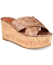COACH Cross-Band Wedge Sandals