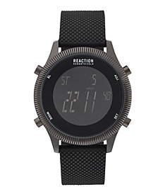 Kenneth Cole Reaction Men's Digital Black Silicone Strap Watch 45mm