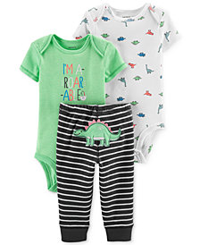 Carter's Baby Boys 3-Pc. Dinosaurs Bodysuits & Striped Pants Set
