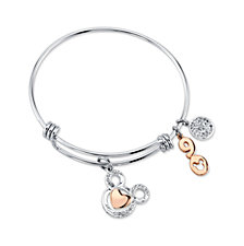 Disney's Two-Tone Crystal Mickey Mouse 90th Anniversary Adjustable Bangle Bracelet in Stainless Steel for Unwritten