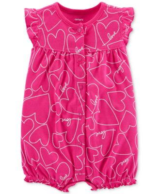 Carter's Baby Girls Cotton Heart-Print Romper