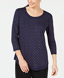 JM Collection Petite Studded 3/4-Sleeve Top, Created for Macy's
