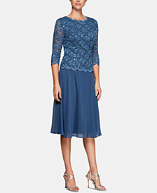 Alex Evenings Sequined Lace Contrast Dress