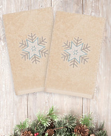Linum Home Textiles Christmas Crystal - Embroidered Luxury 100% Turkish Cotton Hand Towels Set of 2