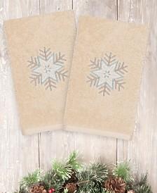 Linum Home Christmas Crystal 100% Turkish Cotton 2-Pc. Hand Towel Set