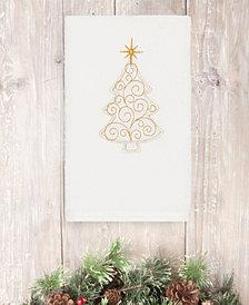 Linum Home Christmas Tree Scroll 100% Turkish Cotton Hand Towel