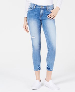 FLYING MONKEY Ripped Cropped Jeans in Blue Leaf
