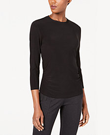 Anne Klein 3/4-Sleeve Ruched Top