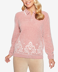 Alfred Dunner Home For The Holidays Collared Border-Print Chenille Sweater