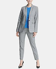 DKNY Plaid Blazer, Side-Twist Top & Skinny Pants, Created for Macy's