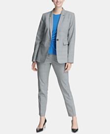DKNY Plaid Blazer, Side-Twist Top & Skinny Pants