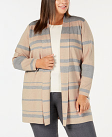 Calvin Klein Plus Size Striped Open Cardigan