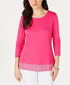 Karen Scott Printed-Trim 3/4-Sleeve T-Shirt, Created for Macy's