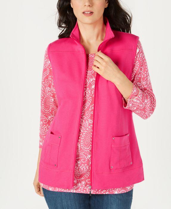 Karen Scott Petite Zip Vest, Pink, Size: P/S