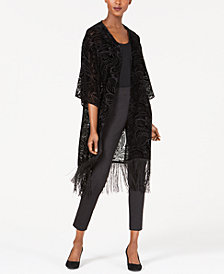Anne Klein Fringed Velvet Burnout Duster