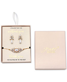 Jewel Badgley Mischka Gold-Tone Crystal and Imitation Pearl Drop Earrings & Slider Bracelet Set