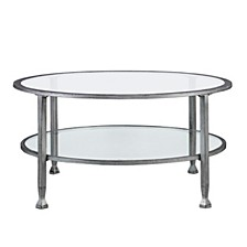 Brookford Metal and Glass Round Cocktail Table