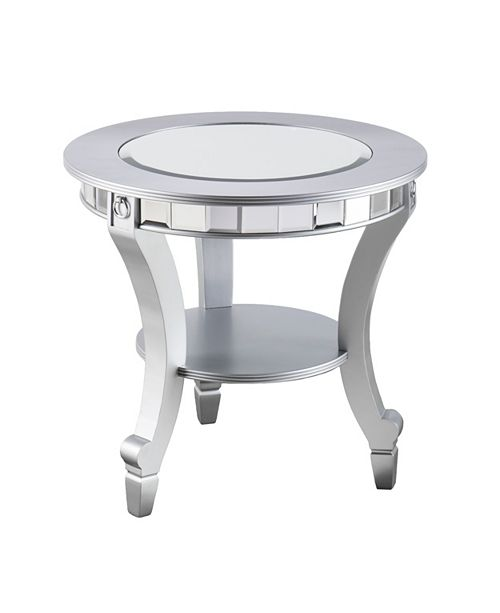 Southern Enterprises Pennsbury Glam Mirrored Round End Table